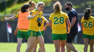 Donegal players Karen Guthrie, left, and Kate Keaney celebrate after their victory in Tuam