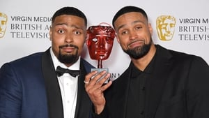 Jordan Banjo (L) and Ashley Banjo, accepting the Must-See Moment award for Diversity's performance on Britain's Got Talent