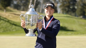 Yuka Saso celebrates with the Harton S Semple Trophy after winning the 76th US Women's Open