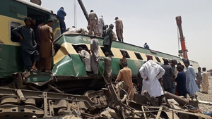 The scene today after two trains collided in the Daharki area of Pakistan