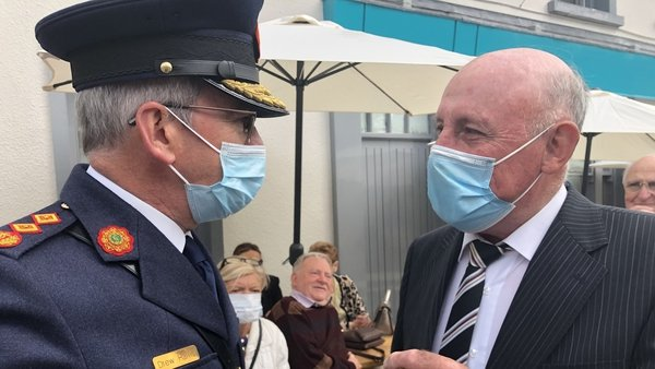 Garda Commissioner Drew Harris with former Detective Garda Ben O'Sullivan who survived the attack in Adare 25 years ago