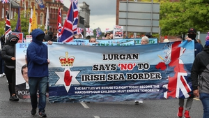 Loyalists gathered in Portadown town centre on Saturday in demonstration over the controversial Northern Ireland Protocol