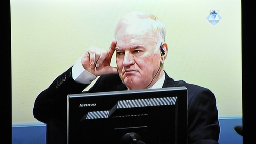Ratko Mladic appearing at The Hague in 2017
