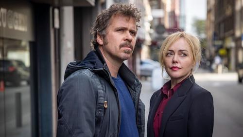 Angeline Ball and Wouter Hendrickx in Hidden Assets Photo Credit: Guillaume Van Laethem/Saffron Pictures/RTÉ/AcornTV
