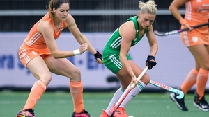 Chloe Watkins in action against the Netherlands earlier in the tournament