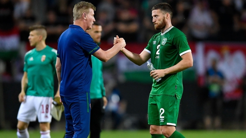 Republic of Ireland manager Stephen Kenny with Matt Doherty