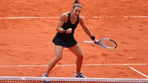 Maria Sakkari celebrates converting match point and reaching the semi-finals at Roland Garros