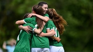 Ireland players celebrate Rebecca Watkins' opener