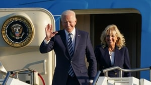 US President Joe Biden and First Lady Jill Biden arrived on Air Force One at RAF Mildenhall in Suffolk