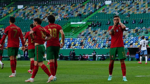 Bruno Fernandes doubled his international goal tally in the win in Lisbon