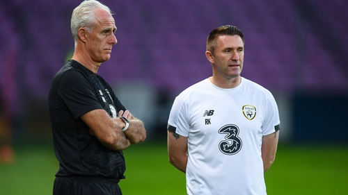 Robbie Keane's last appearance on the sideline for Ireland was in Mick McCarthy's (L) final game in charge in November 2019
