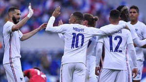 Karim Benzema (L) and Kylian Mbappe are among France's fearsome complement of strikers