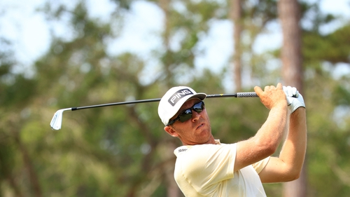 Seamus Power plays his shot from the 18th tee during the first round of the Palmetto Championship