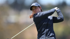 Maguire tees off from the ninth hole during the first round of the LPGA Mediheal Championship