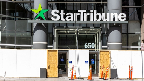 The entrance of the Star Tribune local newspaper in Minneapolis, Minnesota