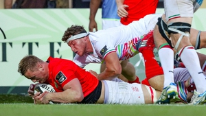 Gavin Coombes crashes over the line for a try in Parma