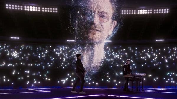 Bono, The Edge and Martin Garrix. Pic: UEFA