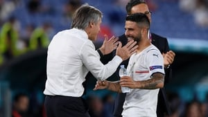 The Italian coach congratulates Lorenzo Insigne after the final whistle