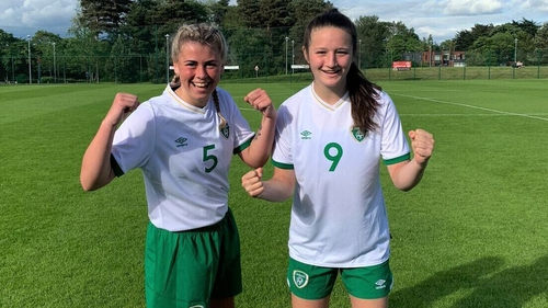 Ireland goalscorers Jenna Slattery and Laura Shine