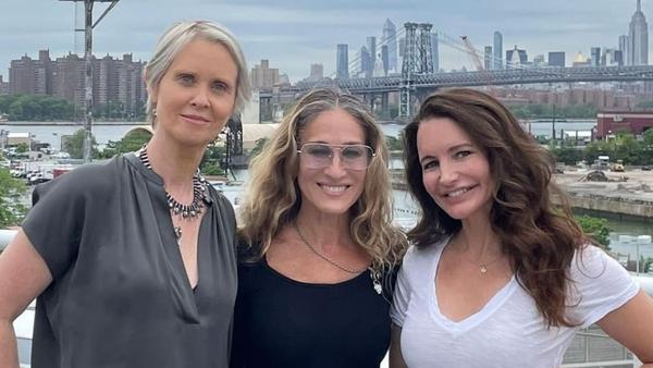 Cynthia Nixon, Sarah Jessica Parker and Kristin Davis reunited for the SATC reboot. Image: Instagram/SarahJessicaParker