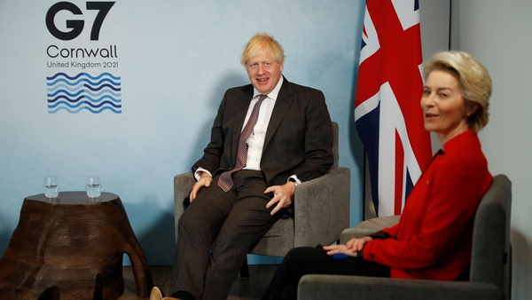Britain's Prime Minister Boris Johnson with President of the European Commission Ursula von der Leyen