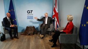 European Council President Charles Michel, British PM Boris Johnson and European Commission President Ursula von der Leyen