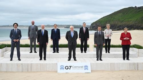 Leaders: Justin Trudeau, Charles Michel, Joe Biden, Yoshihide Suga, Boris Johnson, Mario Draghi, Emmanuel Macron, Ursula von der Leyen and Angela Merkel