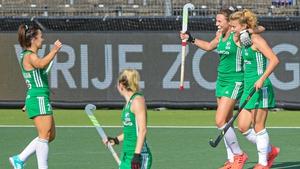 Anna O'Flanagan, left, Deirdre Duke and Zara Malseed of Ireland celebrate after the third goal