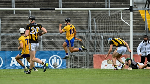 David Reidy jumps for joy after Clare's third goal