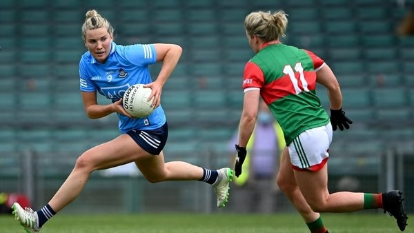 Jennifer Dunne of Dublin in action against Fiona McHale of Mayo - Lidl NFL semi-final 2021