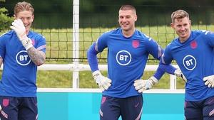 England goalkeepers (from left) Jordan Pickford, Sam Johnstone and Dean Henderson