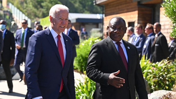 President Biden with South African president Cyril Ramaphosa who joins final day of G7 summit along with leaders of Australia and South Korea