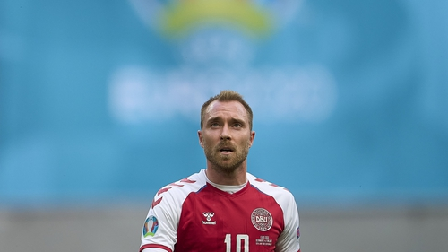 Eriksen during the first half of the match against Finland
