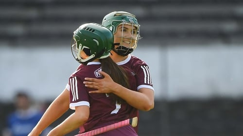 Galway players Niamh Kilkenny, right, and Tara Kenny celebrate the victory