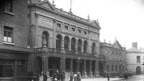 The 'Old' Theatre Royal, Hawkins Street, Dublin 1913. The building on right of shot is The Winter Gardens. Cashman Collection
