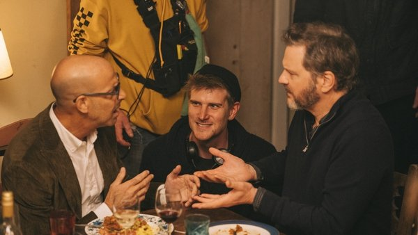 Man in the middle - Harry Macqueen with Stanley Tucci and Colin Firth on the set of Supernova