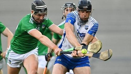 Gearóid Hegarty tackles Waterford's Kevin Moran in last year's All-Ireland hurling final