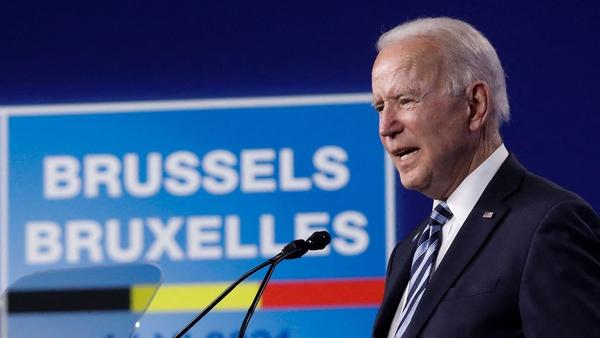 Joe Biden speaking after the NATO summit yesterday in Brussels