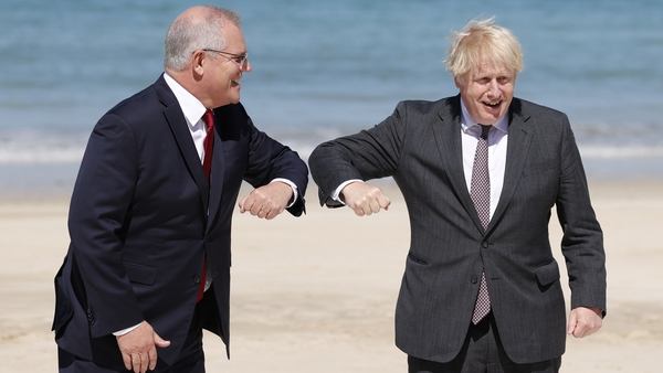 Australia's Prime Minister Scott Morrison and UK Prime Minister Boris Johnson at the G7 summit in Cornwall over the weekend