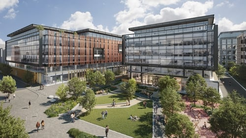 An acre of landscaping and the largest outdoor public park in the North Docks will connect the commercial space with the Coopers Cross residential development of 472 new apartment units