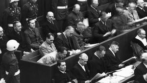In the dock: Nazi war criminals Hermann Göring, Rudolf Hess, Joacchim von Ribbentrop, Wilhelm Keitel, Alfed Rosenburg and Hans Frank at the Nuremberg trials in 1945. Photo: Getty Images