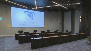 The trial is being held at a temporary courtroom in Croke Park