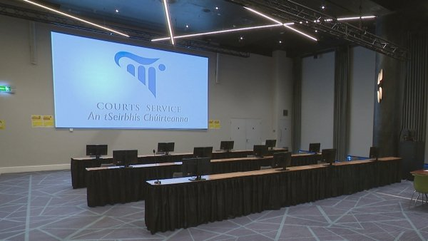 The trial is being heard in temporary courtroom facilities at Croke Park