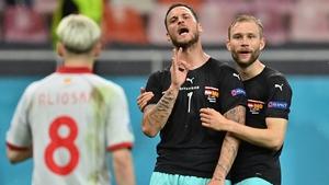 Austria's Marko Arnautovic (centre) celebrates scoring against North Macedonia