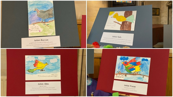 'Homing Pigeons: Birds with Wishes' features the artwork of Syrian children