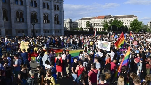 More than 5,000 people rallied outside parliament on Monday against the legislation, which LGBTQ groups have compared to similar legislation in Russia