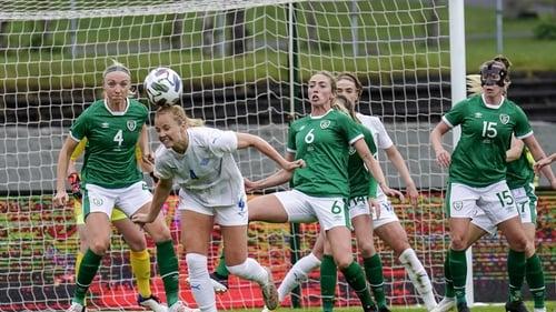 Glodis Perla Vlggosdottir of Iceland in action against Louise Quinn, Megan Connolly and Claire O'Riordan