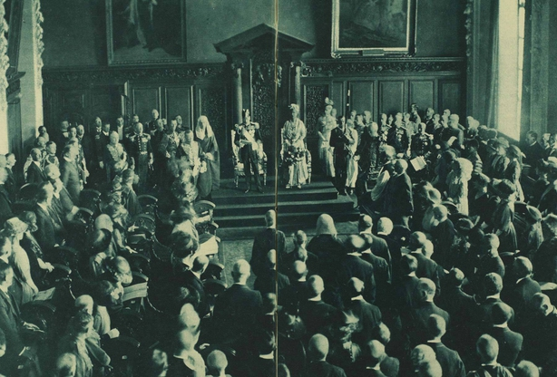 The king making his speech Photo: Illustrated London News [London, England], 2 July 1921