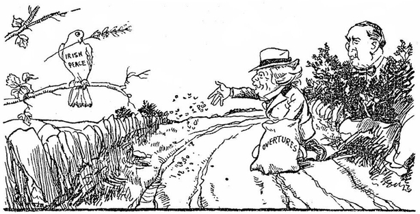 Cartoon showing Lloyd George making peace overtures Photo: Sunday Independent, 3 July 1921