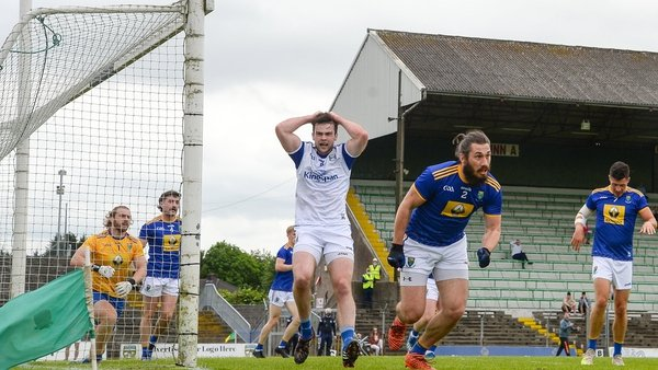 Thomas Galligan of Cavan reacts to a missed opportunity on goal